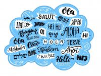 Handwritten word hello in different languages. French bonjur and salut, spanish hola, japanese konnichiwa, chinese nihao and other greetings. Banner for hotels or school.